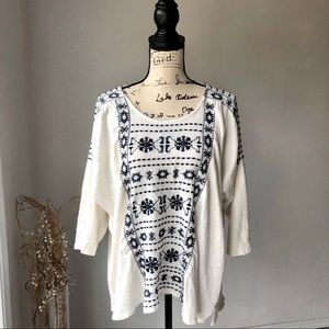 Lucky Brand Tunic Boho Top Embroidered  XL